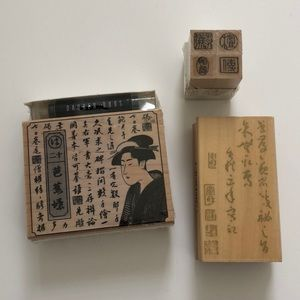 Bundle lot of Asian Japanese Chinese rubber stamps